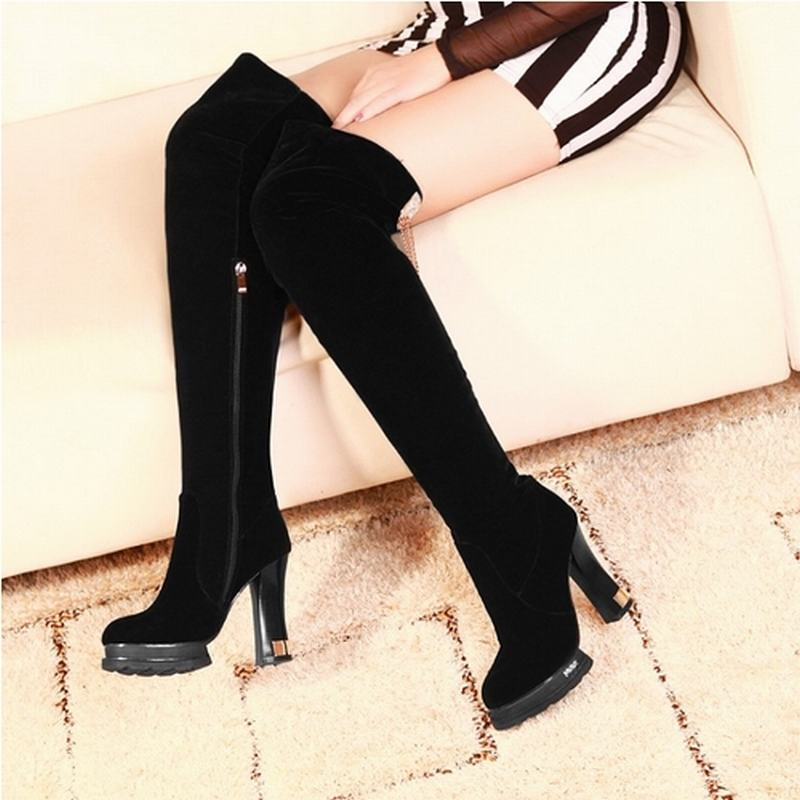 Гаджет  fashion women over the knee boots thick heels platform over the knee motorcycle boots fashion thick heels women platform boots None Обувь