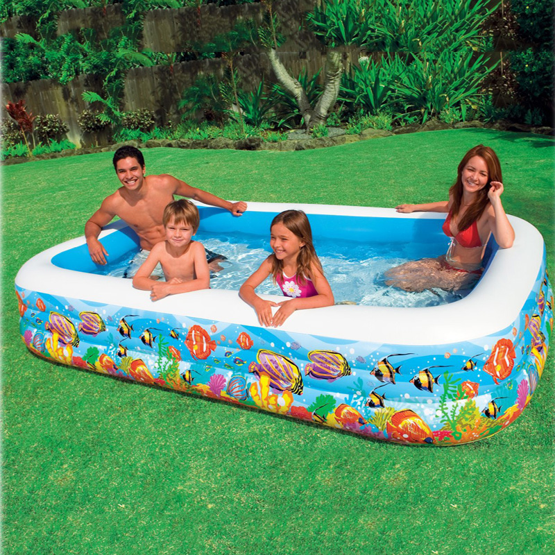 305*183*56cm Tropical Inflatable Family Swimming Water PoolBaby Square Paddling Pool Infant Playground Piscina Bebe Zwembad A206(China (Mainland))