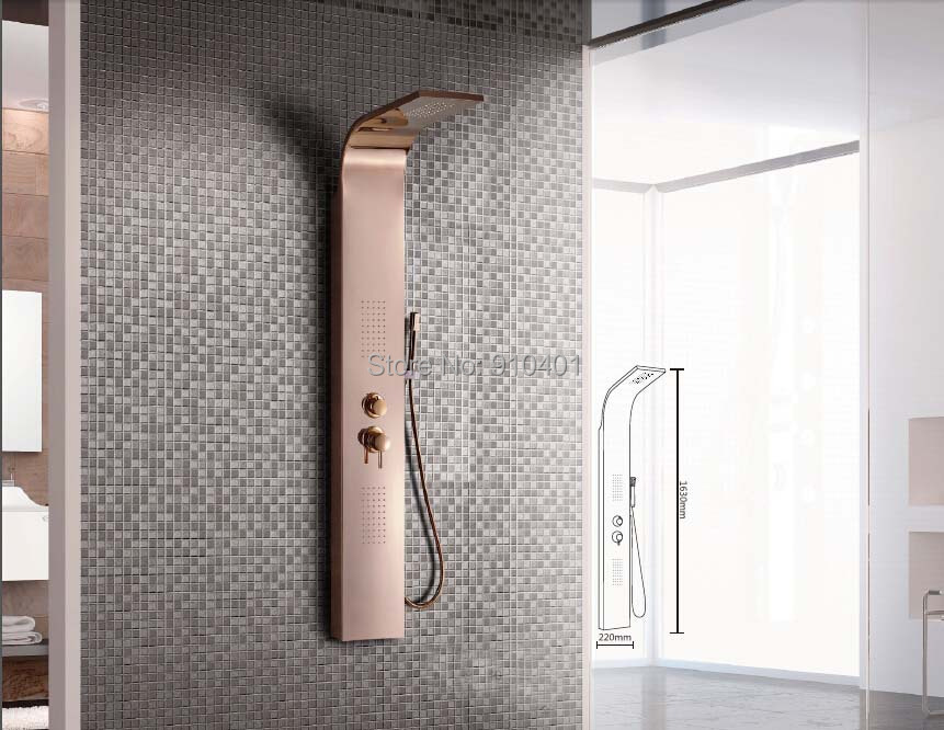 Hot Sale Wholesale And Retail Promotion Red Golden Rain Shower Column Wall Mounted Jets Sprayer Hand Unit Shower Panel(China (Mainland))