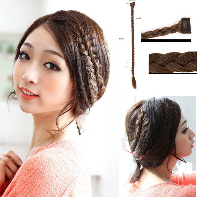 3 PCS/LOT Vintage Long Braided Hair Extensions Clip In Daily Hairpieces Black/Brown Hair cabelo peruca<br><br>Aliexpress