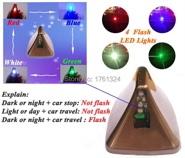 Auto Antenna Radio for KIA K2k3k4k5Car Shark Fin Antenna Aerials with Solar Power LED Flash Warning Tail Lamp Lights Car Styling(China (Mainland))