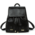 Top Layer Cowhide Women Fashion Simple Backpack Backside Zipper Drawstring Flap Packsack Solid Color Genuine Leather