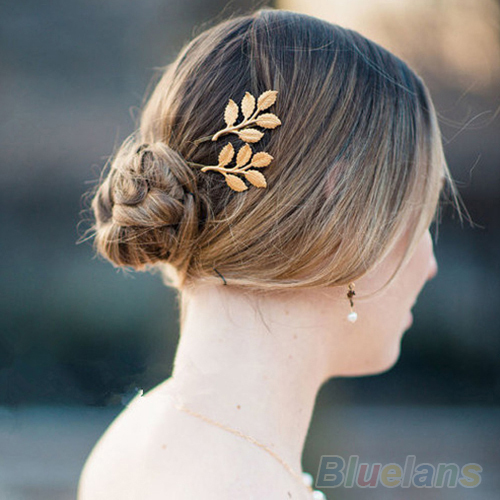 1Pc Fashion Lovely Leaves Golden Metal Punk Hairpin Hair Clip Hair Accessories 02G1 39M3(China (Mainland))