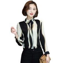 Buy Women Blouses 2017 Casual Striped Vintage OL Chiffon Blouse Slim Long Sleeve Work Wear Blusas Feminina Tops Shirts Plus Size for $10.76 in AliExpress store
