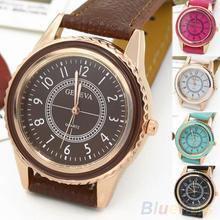 Men ' s de la mujer chapado en oro rosa Faux Leather Band cuarzo del Dial del reloj 2EA5