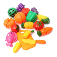 16pcs/Set Plastic Kitchen Food Fruit Vegetable Cutting Kids Pretend Play Educational Toy Cook Cosplay Safety Hot Sale(China (Mainland))