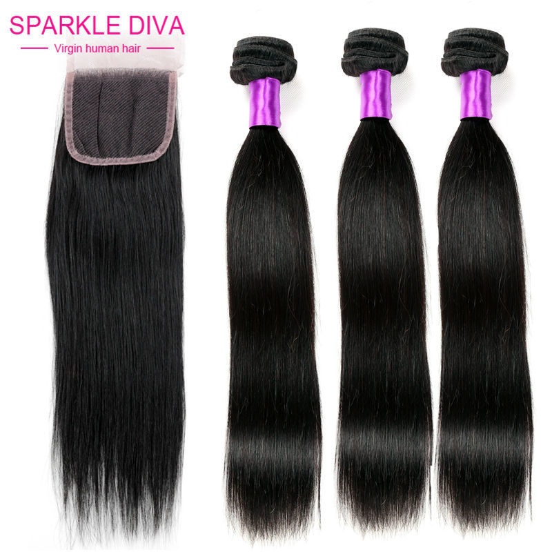 8A Brazilian Straight Hair with Closure 4 Pcs Ms Lula Hair with Closure and Bundles Brazilian Virgin Hair Straight with Closure<br><br>Aliexpress