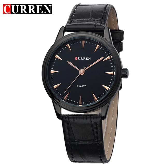 Curren людей кварца деловой свободного покроя часы черный моде мужской кожи наручные часы простые новые 2016