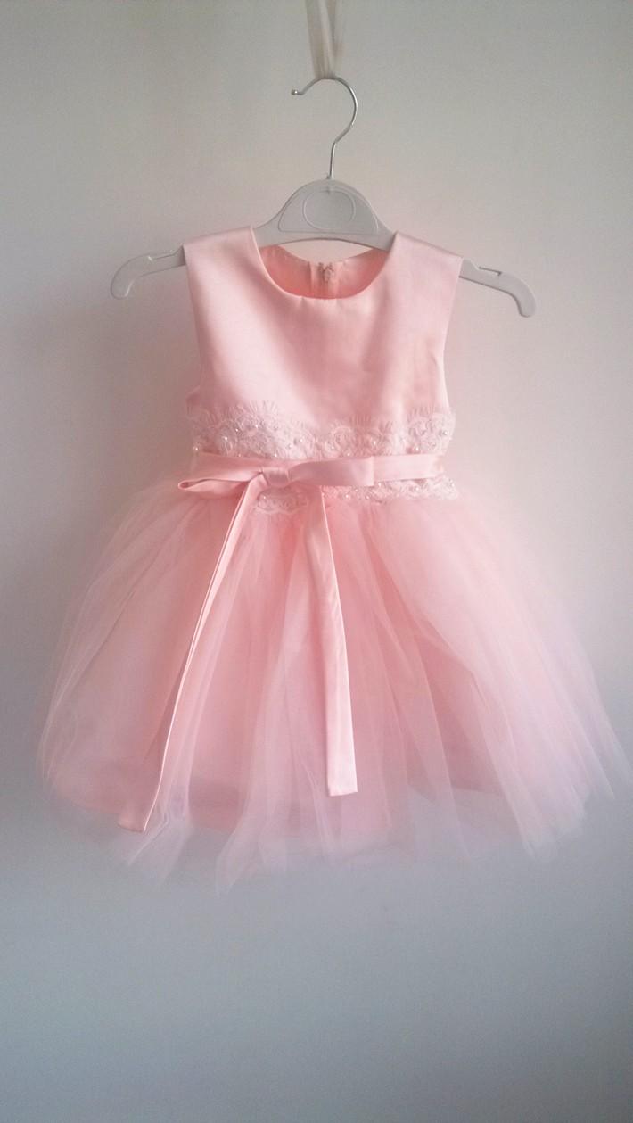 Скидки на БАБ WOW Розовый Прекрасный Цветок Девочки Платья Свадебные Платья Infantis для малыша Девушки 1 Лет День Рождения Платье Девушки Цветка Платья 8070