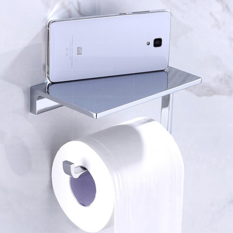 Купить Польский Хром Рулон Туалетной Бумаги Держатель Ткани Настенные Латунь Держатель Мобильного Телефона Полка Ванной