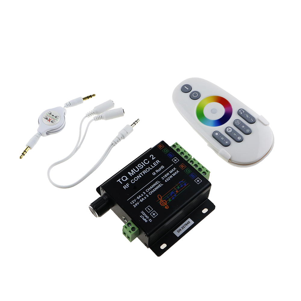 DC12V 24V RGB LED Remote Controller RF Music Sound Audio control 18A 3 Channel TQ Music 2 for SMD 3528 5050 5630 Led Strip Light(China (Mainland))