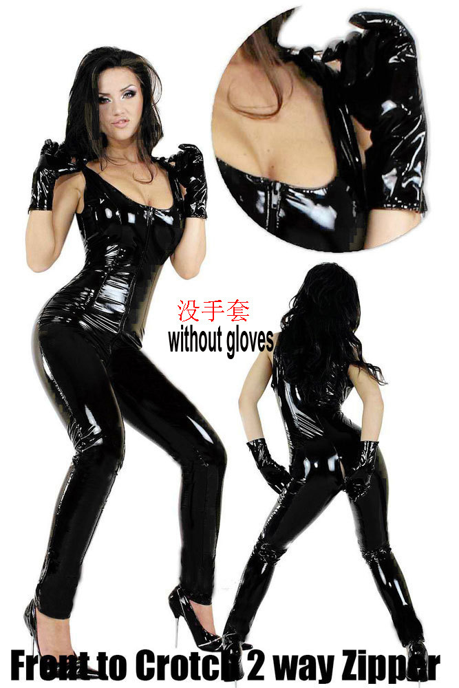 New Sexy Open Croth leather latex Bodysuit Jumpsuit Gothic Fetish ZIP pvc Faux Leather Catsuit with condom Women Dance wear LT96(China (Mainland))