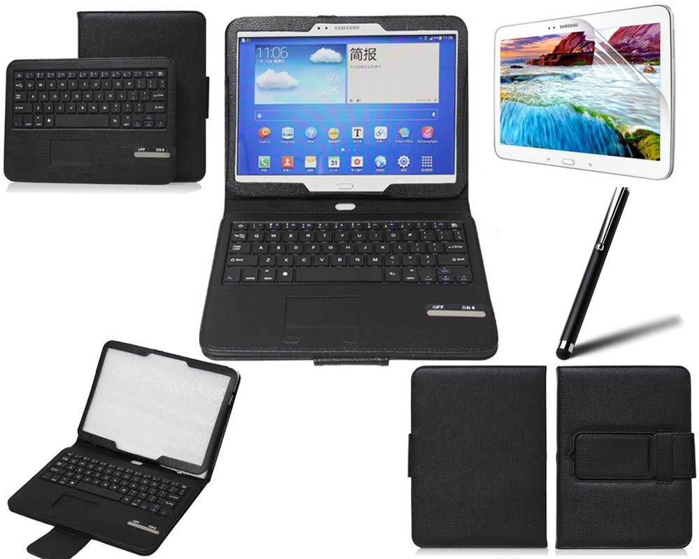 Removable (Detachable) Bluetooth Keyboard Leather Case w/ Touchpad for Samsung Galaxy Tab 3 10.1 P5200 P5210(China (Mainland))