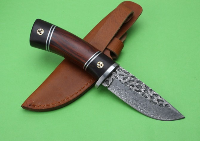 Buy Handmade Damascus fixed hunting knife 67 layer Damascus steel Ebony+red pear wood handle tactical knife outdoor survival rescue cheap