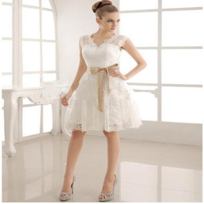 A-line Luxury Popular Hot Sale New Fashion Short Wedding Dress With Bow Sash Open Back lace Bride Dresses Vestido De Noiva(China (Mainland))