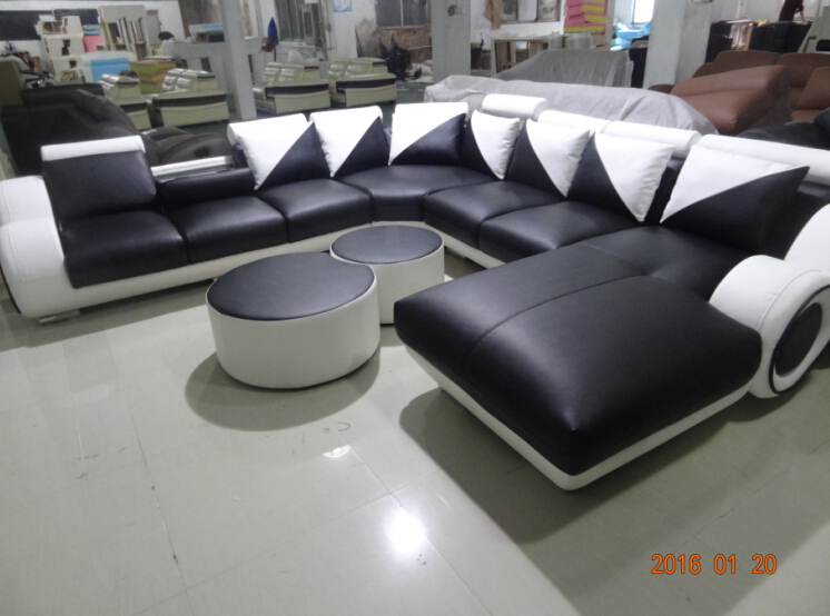 Sofas for living room corner leather sofa couches for living room with 2XOttoman Black& White(China (Mainland))