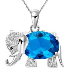 Fashion Purple/Blue Crystal Necklace Cz Elephant Animal Pendant Necklaces for Women Ladies Gifts colares femininos(China (Mainland))