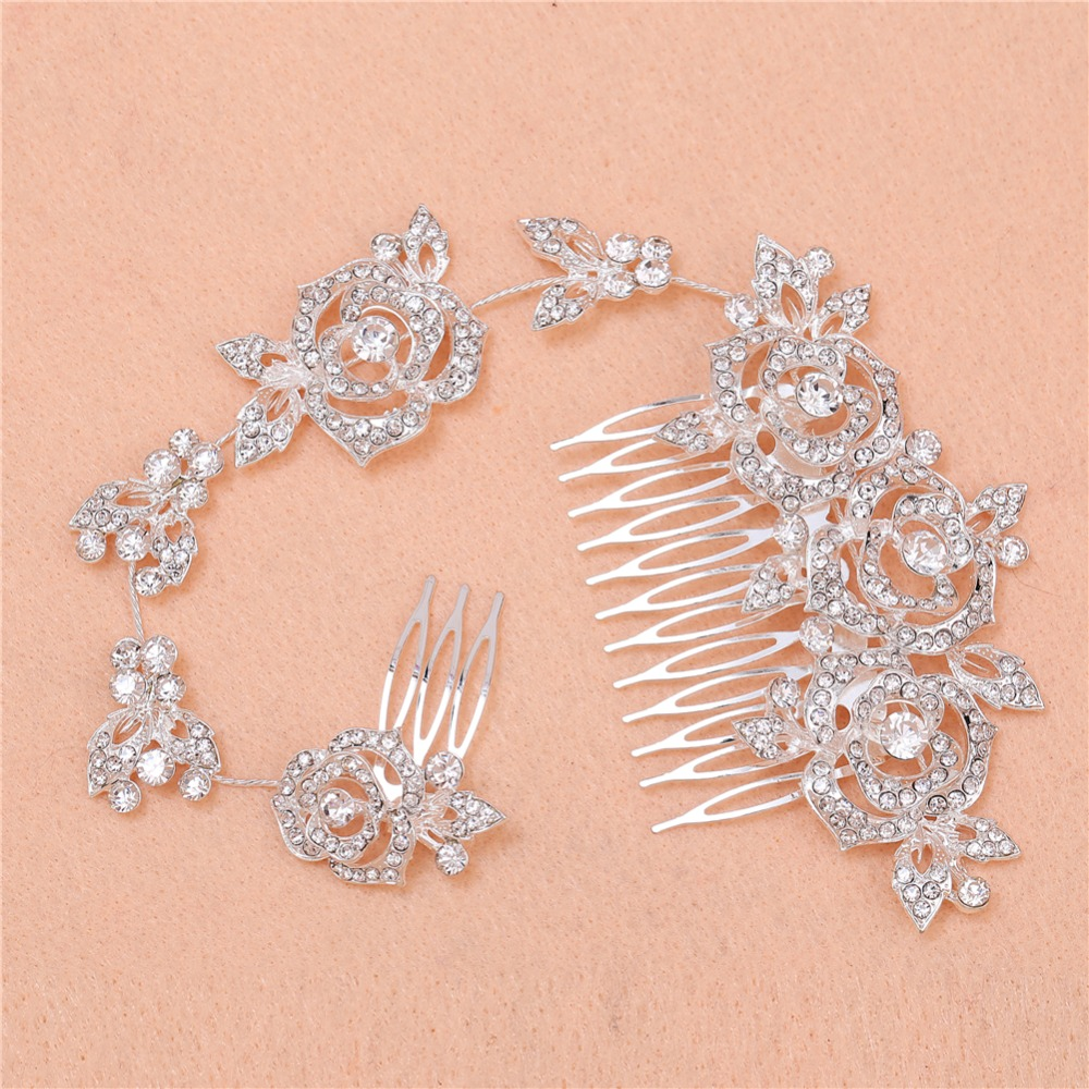 Elegant Hairwear Wedding Jewelry Bride Beautiful Long Roses Haircomb Zinc Alloy Rhinestone Accessories Fashion Crystals Combs(China (Mainland))