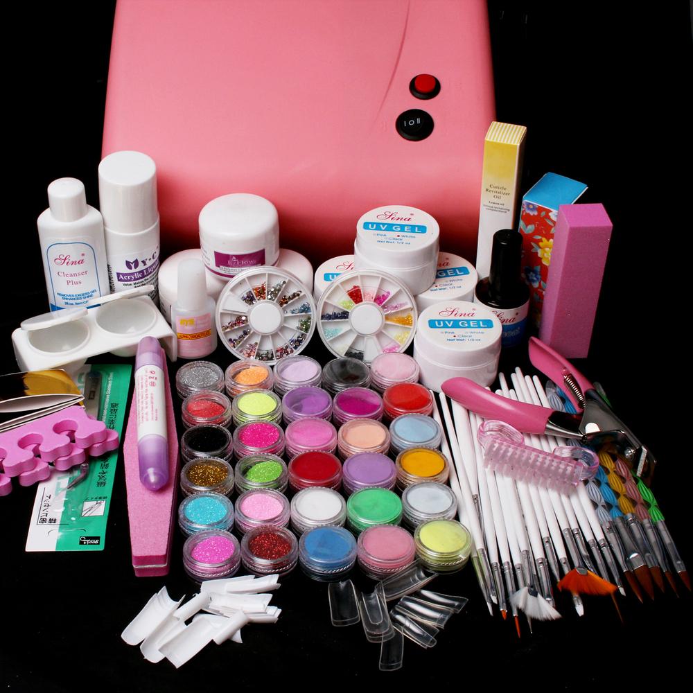Nail Pro 36W Pink UV Dryer Lamp 30 Color Acrylic Powder Gel Tips Nail Art Tools Set BTT-121 free shipping(China (Mainland))