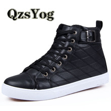 Fashion High Top Men Shoes Winter Lace Up Casual Flat With Leather Shoes Rubber Bottom High Quality Driving Men Trainers Boots