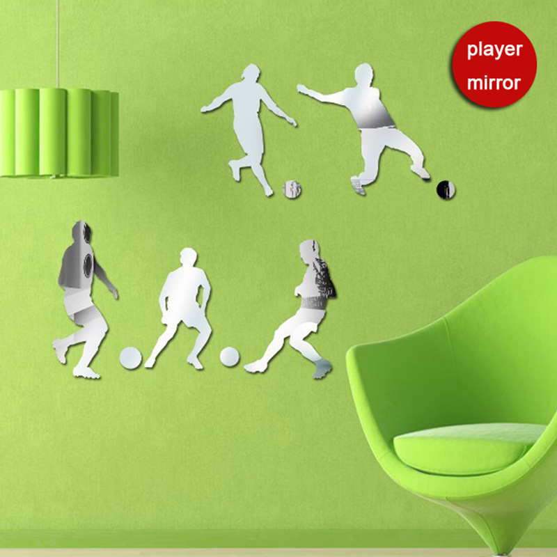 Funlife High Quality Children's Bedroom Living Room Background Stereo Wall Stickers Football Players Mirror Wall Stickers MS3610(China (Mainland))