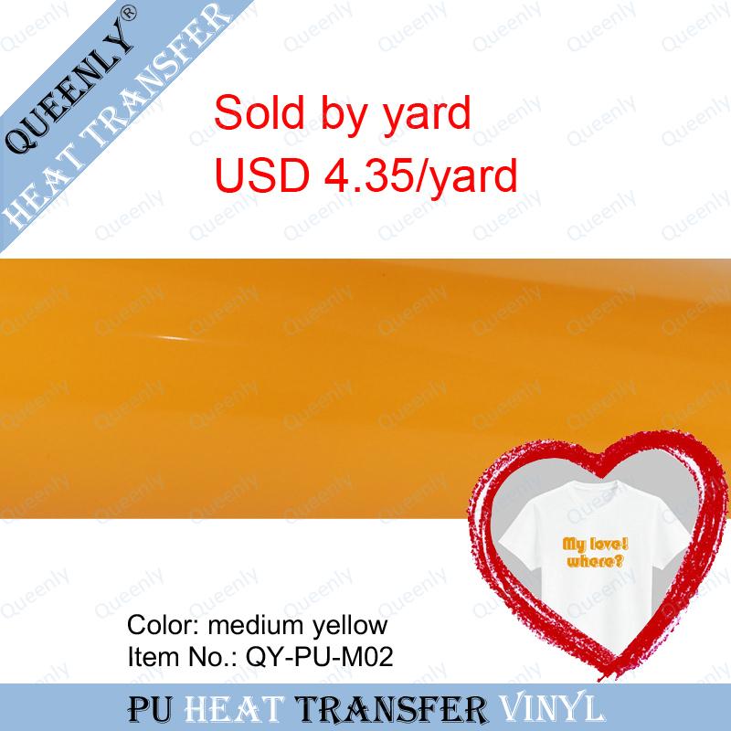Medium yellow PU heat transfer vinyl for textiles heat transfer film sold by yard 5 yards/pack width 18.9inch(China (Mainland))