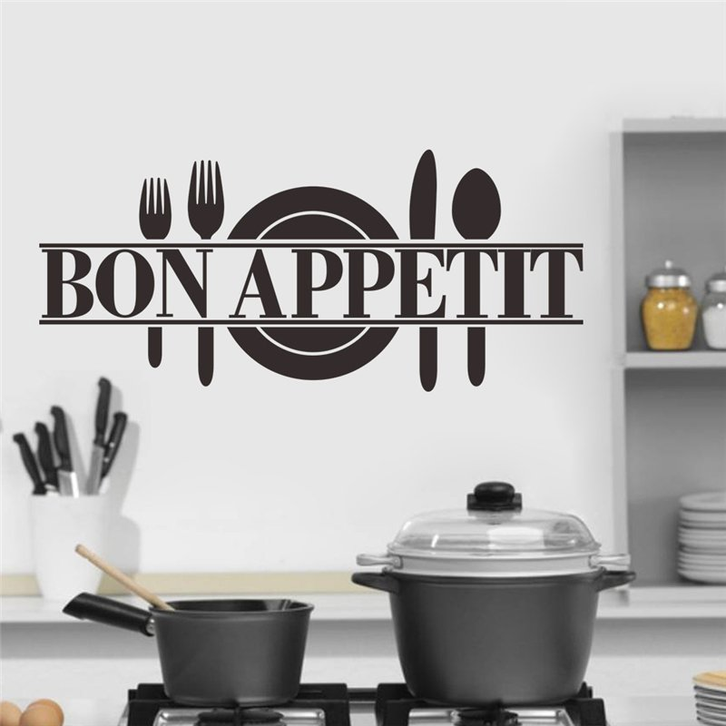 Bon appetit food wall stickers kitchen room decoration for Poster deco cuisine