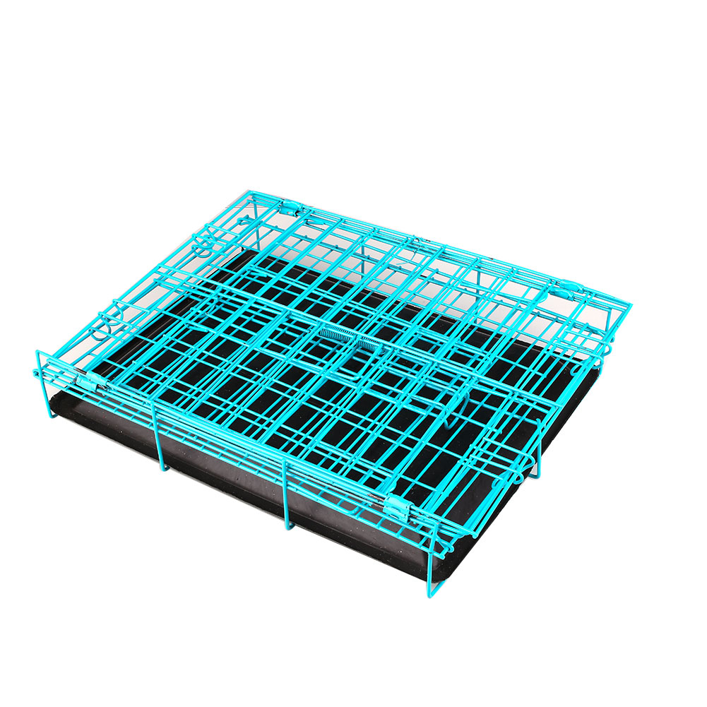 2 Door Pet Dog Collapsible Wire Cage Crate Kennel with Plastic Tray Black(China (Mainland))