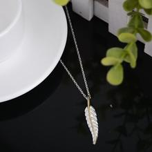 Exquisite Necklace Women Silver Plated Jewelry Feather Chocker Collar Statement Necklace&Pendant Fashion Chain - Tinker Bell store