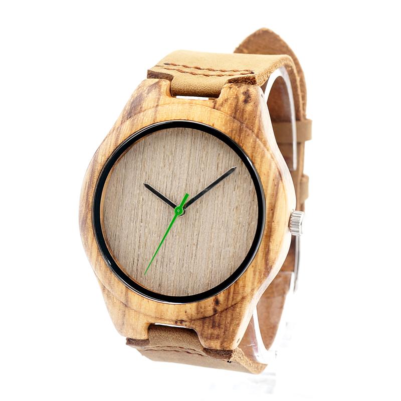 BOBO BIRD AM069 Zebra Wood Handmade Mens Wrist Watches With Green Pointer<br><br>Aliexpress