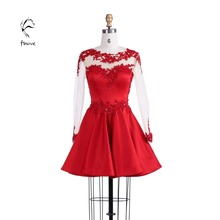 Finove Cocktail Dresses Fashion 2016 Short Red Homecoming Dress with A-line Long Sleeves Appliques Beaded Satin Tulle for Girls(China (Mainland))