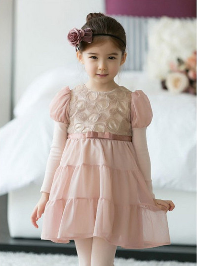 ! 2015 summer girls dress rose petal hem color cute princess baby 2-7years - Warm family clothing stores store