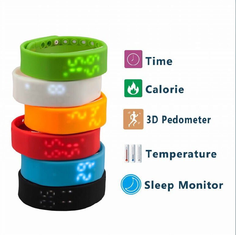 15 pcs Smart Flex Wristband Fitness Tracker Fuel Band Smartband Wearable Electronics Wristband Activity Intelligent Bracelet