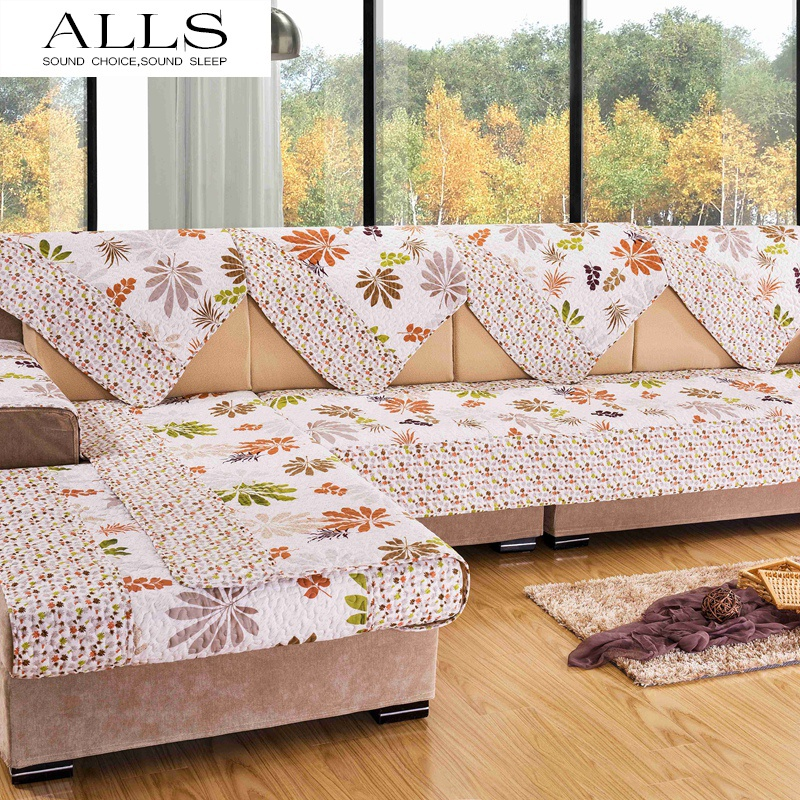 Beige Flower Sofa Cover Sectional Couch Armrest Covers