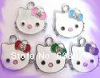 New design!! 50pcs 19*16mm mixed color Hello kitty with crystal&colorful epoxy Hang Pendant fit necklace cell phone charms.(China (Mainland))