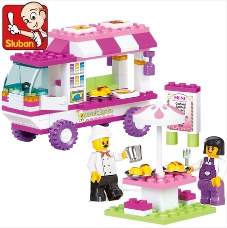 New Sluban Girls Snack Car Vans Building Blocks Vehicle Model 102pcs/lot Kids Baby Gift Toys Compatible Legoe(China (Mainland))