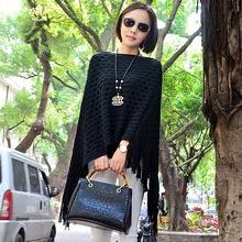 Women Cape Fashion Poncho tassel autumn loose Sweaters Batwing Knitted Tassels Hem Pullover irregularity Cloak Tops Shawl mantle(China (Mainland))