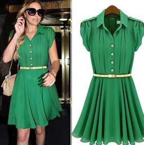 New Designer Brand Office Dresses Green Pleat Chiffon High Street Knee-Length Dress With Belt Summer Dresses For Women 2014