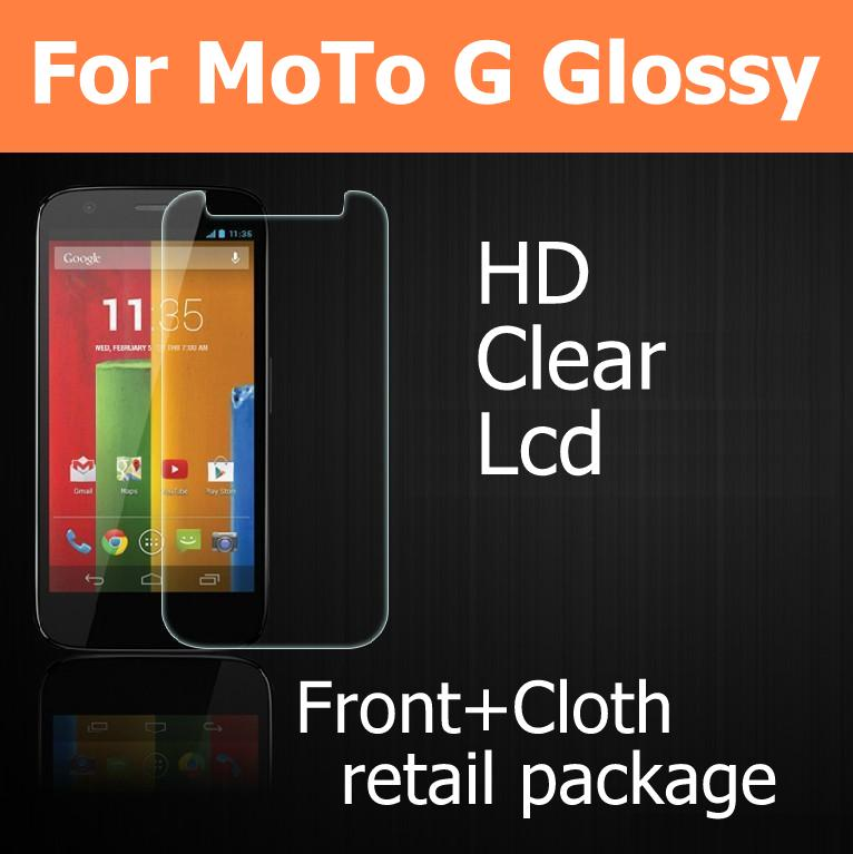 Best quality full body 10pcs HD Clear lcd Glossy screen protector films For Moto G phone with 10front+10cloth+10 retail package(China (Mainland))