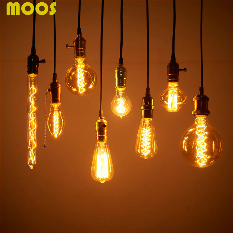 Гаджет  Retro Incandescent Light Bulb Vintage Edison Bulb e27 110V 220V Lighting 40W Filament Bulbs Tungsten Tube ST64 Glass Lamps None Свет и освещение