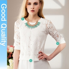 za** fashion 2014 spring new doll collar lace chiffon shirt plus size long sleeve shirts chiffon blouse casual shirt tops brand