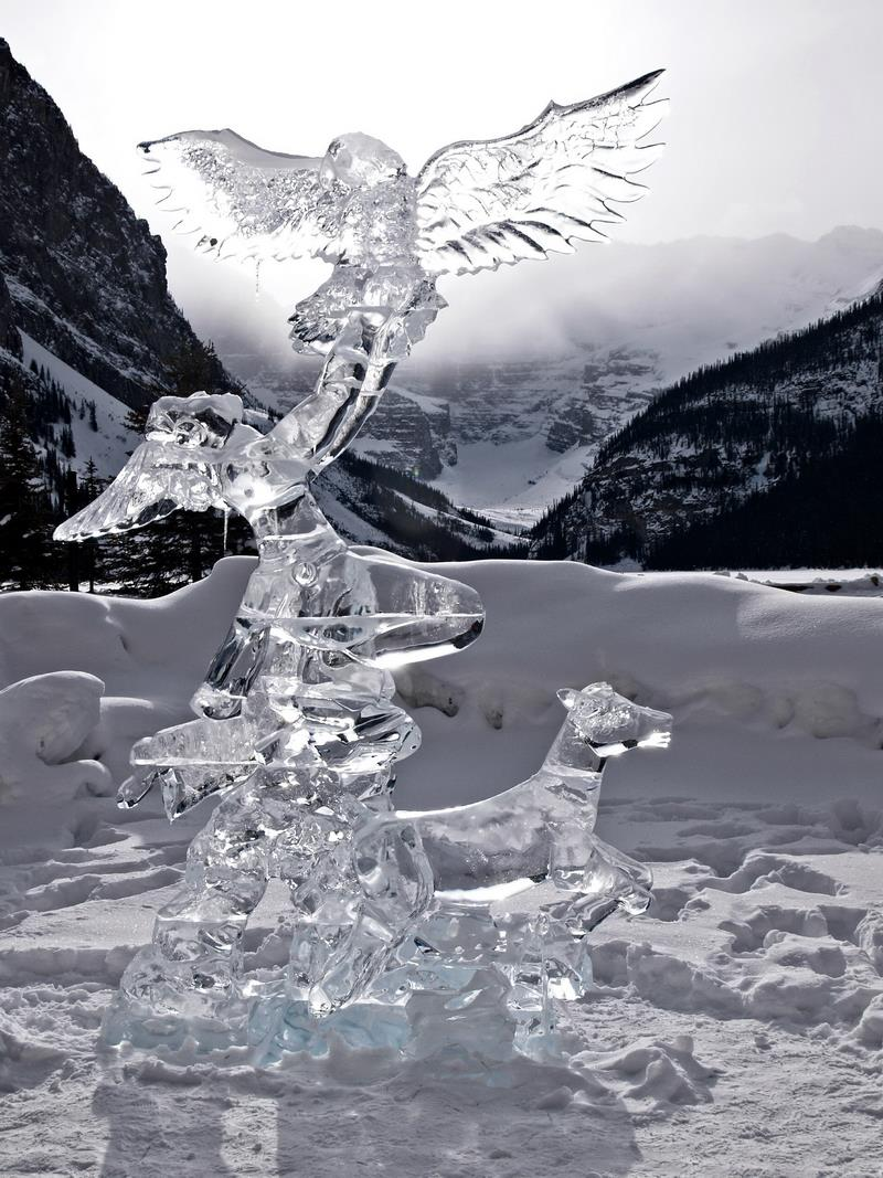 Canvas Prints Stretched Framed Fine Art Giclee Artwork For Wall Decor Frozen Ice Glacier Lake Louise Winter Alberta Figure