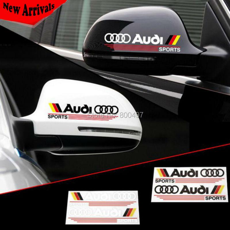 2 x Newest Design Car Rear View Decoration Stickers Car Decals For Audi Sports A1 A3 A4 A5 A6 A7 A8 S8 Q3 Q5 Q7(China (Mainland))