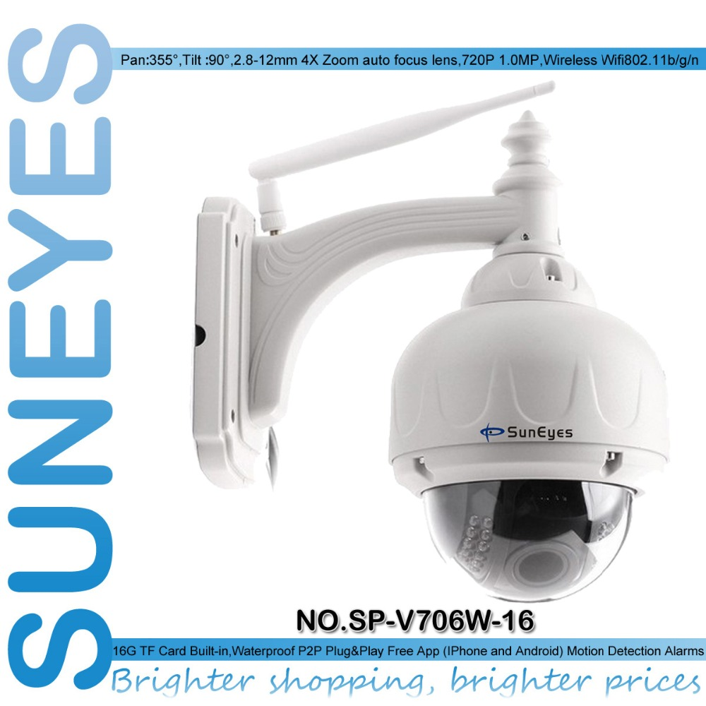 SunEyes SP-V706W-16 720P HD Dome IP Camera PTZ Outdoor Wireless 4Times Optical Zoom Auto Focus with Free 16G Micro SD Card(China (Mainland))