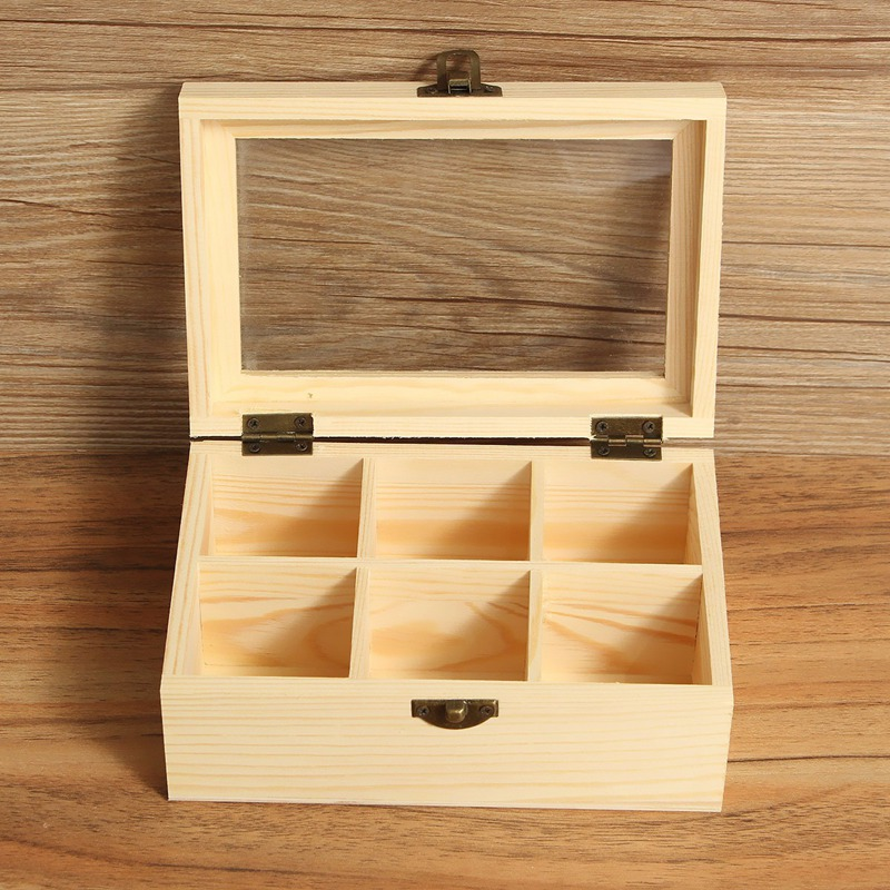 Vintage 6 Compartments Wooden Tea Box Jewelry Accessories Storage Container Pine Wood Tea Gift Store Box Case Container(China (Mainland))
