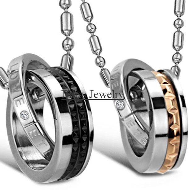 """New """"Eternal Love"""" Stainless Steel Interlocking Couples Necklaces, Double Circle Pendant Necklace Couple Jewelry Gift(China (Mainland))"""