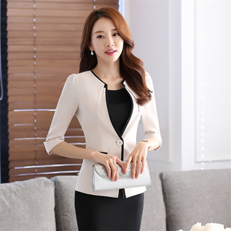 2016 summer new salon at the front desk work professional coat sleeve skirt suits hotel uniforms office work clothes
