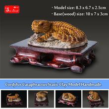 New Cordylus Cataphractus Static Clay Model 100% Handmade High simulation Endangered Animals lizard figure model + base 1 set(China (Mainland))