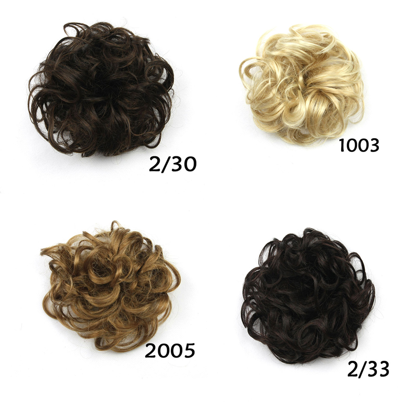 1pc 25g 13colors Curly Hair Bun Pieces Synthetic Hair Scrunchies Curly Chignon Bun Hairpiece Free Shipping(China (Mainland))
