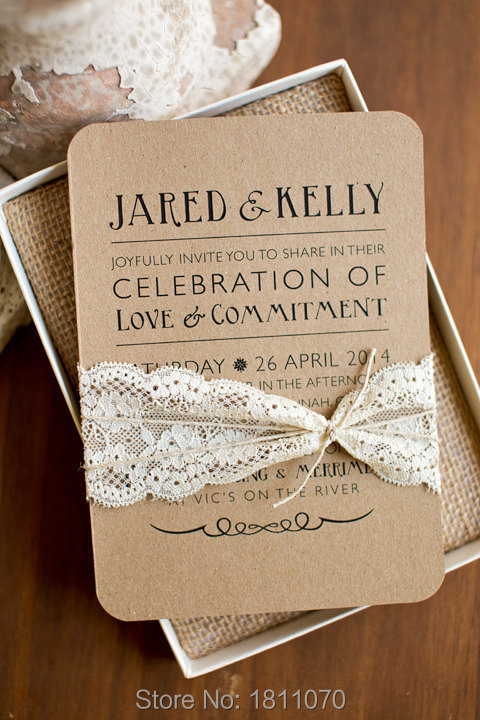 Rustic Retro Lace Kraft Boxed Wedding Invitations Tied By Lace Include Box Super Quality Wedding Cards LCPA105(China (Mainland))